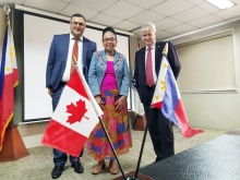 CBIE Vice President for International Partnerships Basel Alashi, CHED Chairperson Patricia Licuanan and Canadian Ambassador to the Philippines John Holmes during the CHED and CBIE contract signing.